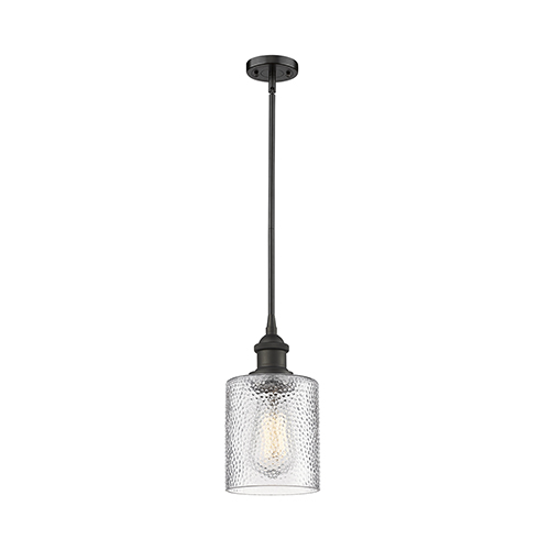 Innovations Lighting Cobbleskill Oiled Rubbed Bronze Five-Inch One-Light Mini Pendant with Clear Ripple Drum Glass