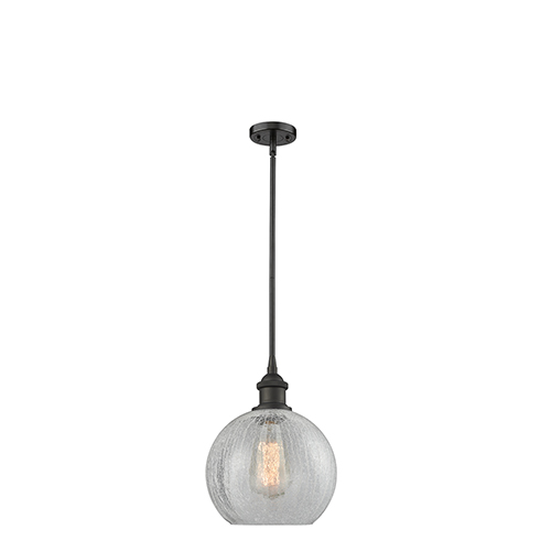Athens Oiled Rubbed Bronze Eight-Inch LED Mini Pendant with Clear Crackle Globe Sphere Glass