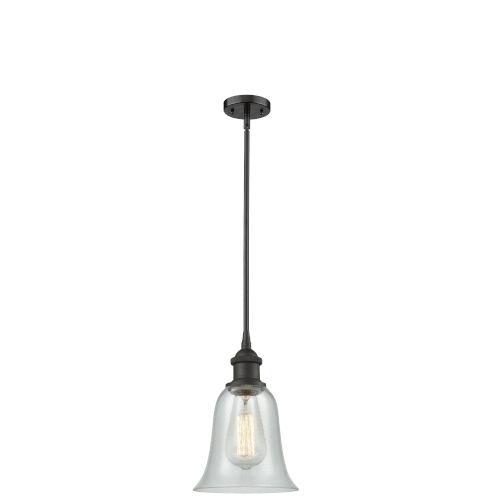 Hanover Oil Rubbed Bronze One-Light Hang Straight Swivel Mini Pendant with Fishnet Glass
