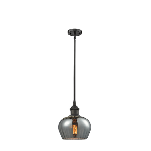 Innovations Lighting Fenton Oiled Rubbed Bronze Seven-Inch LED Mini Pendant with Smoked Fluted Sphere Glass