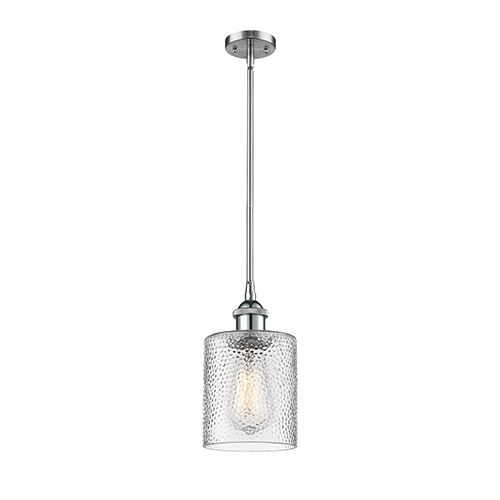 Innovations Lighting Cobbleskill Polished Chrome Five-Inch One-Light Mini Pendant with Clear Ripple Drum Glass
