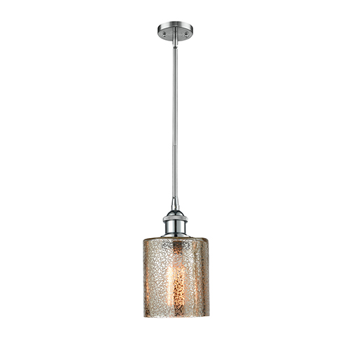 Innovations Lighting Cobbleskill Polished Chrome Five-Inch One-Light Mini Pendant with Mercury Drum Glass