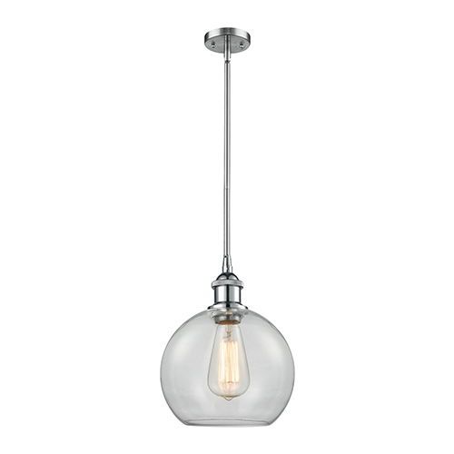 Innovations Lighting Athens Polished Chrome Eight-Inch One-Light Mini Pendant with Clear Globe Sphere Glass