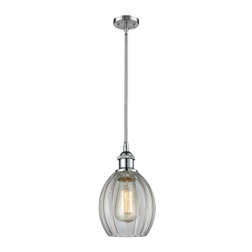 Innovations Lighting Eaton Polished Chrome Six-Inch One-Light Mini Pendant with Clear Fluted Sphere Glass