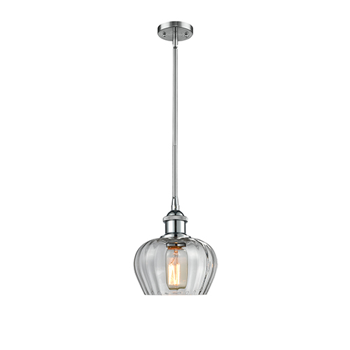 Innovations Lighting Fenton Polished Chrome Seven-Inch One-Light Mini Pendant with Clear Fluted Sphere Glass