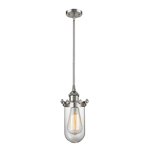 Innovations Lighting Kingsbury Brushed Satin Nickel Six-Inch One-Light Mini Pendant with Clear Globe Glass