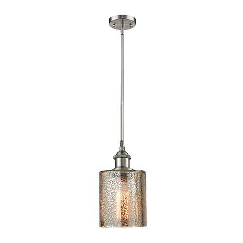 Innovations Lighting Cobbleskill Brushed Satin Nickel Five-Inch LED Mini Pendant with Mercury Drum Glass