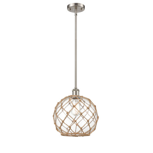Ballston Brushed Satin Nickel 10-Inch One-Light Pendant with Clear Glass with Brown Rope Glass and Rope Shade