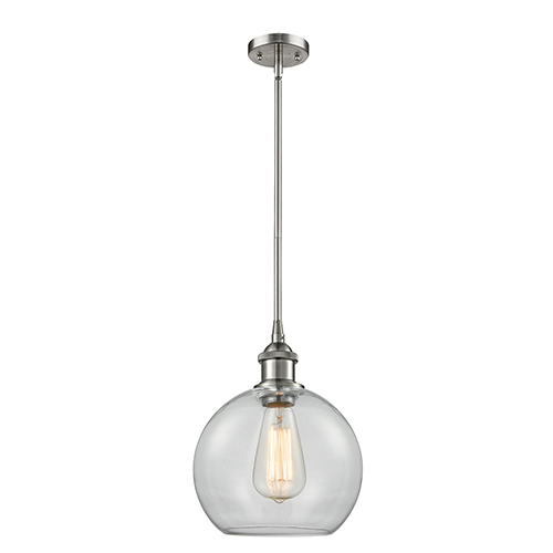 Innovations Lighting Athens Brushed Satin Nickel Eight-Inch LED Mini Pendant with Clear Globe Sphere Glass