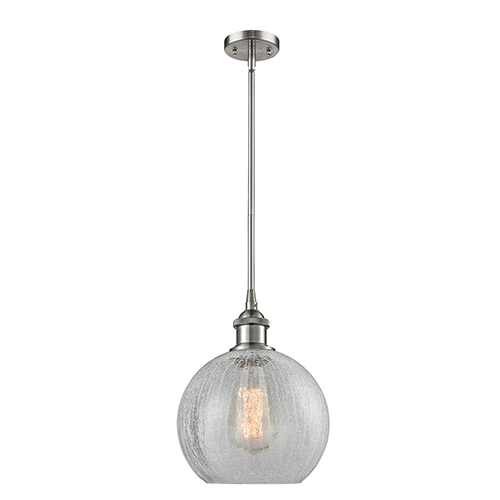 Athens Brushed Satin Nickel Eight-Inch LED Mini Pendant with Clear Crackle Globe Sphere Glass