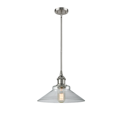 Disc Brushed Satin Nickel 10-Inch One-Light Pendant with Clear Cone Glass