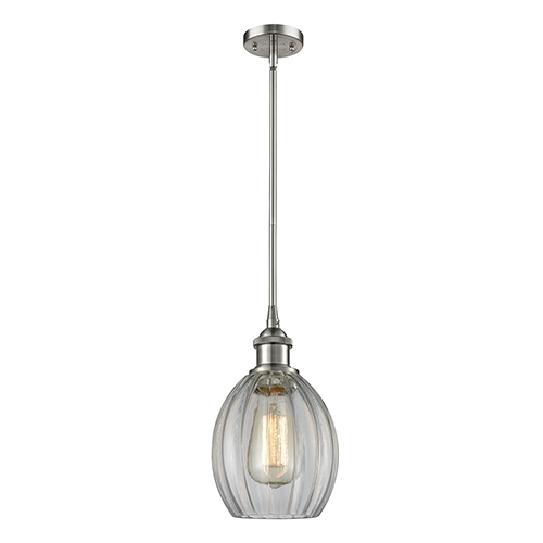 Innovations Lighting Eaton Brushed Satin Nickel Six-Inch One-Light Mini Pendant with Clear Fluted Sphere Glass