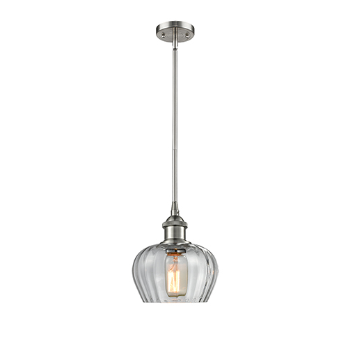 Innovations Lighting Fenton Brushed Satin Nickel Seven-Inch One-Light Mini Pendant with Clear Fluted Sphere Glass