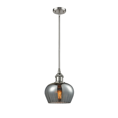 Fenton Brushed Satin Nickel Seven-Inch One-Light Mini Pendant with Smoked Fluted Sphere Glass