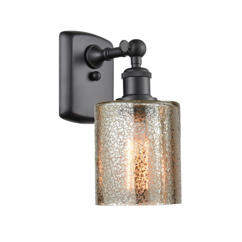 Cobbleskill Matte Black LED Wall Sconce with Mercury Glass