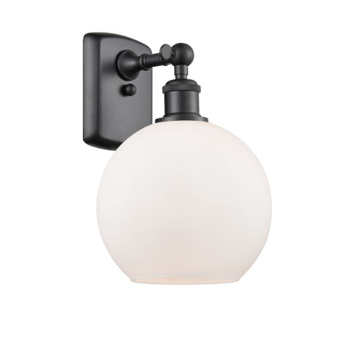 Ballston Matte Black Eight-Inch One-Light Wall Sconce with Matte White Glass Shade