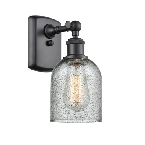 Caledonia Matte Black One-Light Wall Sconce with Charcoal Glass