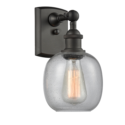 Belfast Oiled Rubbed Bronze One-Light Wall Sconce with Clear Seedy Sphere Glass