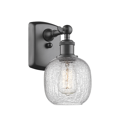 Innovations Lighting Belfast Oiled Rubbed Bronze One-Light Wall Sconce with Clear Crackle Sphere Glass