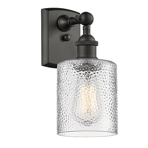 Innovations Lighting Cobbleskill Oiled Rubbed Bronze One-Light Wall Sconce with Clear Ripple Drum Glass