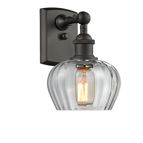 Innovations Lighting Fenton Oiled Rubbed Bronze LED Wall Sconce with Clear Fluted Sphere Glass
