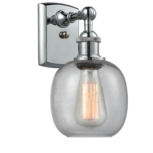 Innovations Lighting Belfast Polished Chrome One-Light Wall Sconce with Clear Seedy Sphere Glass
