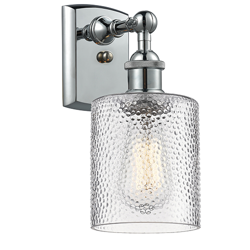 Innovations Lighting Cobbleskill Polished Chrome One-Light Wall Sconce with Clear Ripple Drum Glass