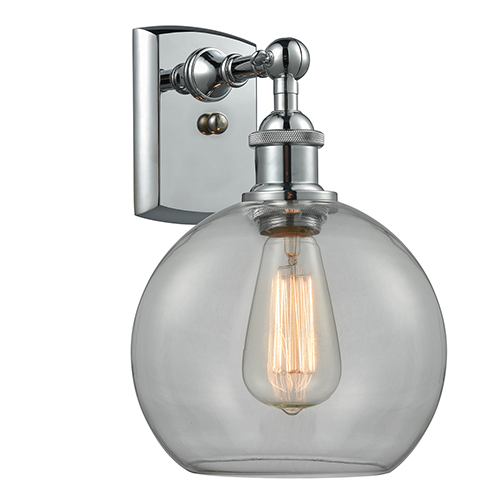 Innovations Lighting Athens Polished Chrome LED Wall Sconce with Clear Globe Sphere Glass