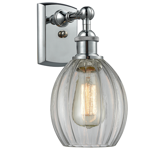 Innovations Lighting Eaton Polished Chrome One-Light Wall Sconce with Clear Fluted Sphere Glass