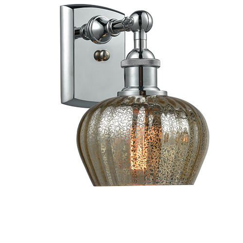 Fenton Polished Chrome One-Light Wall Sconce with Mercury Fluted Sphere Glass
