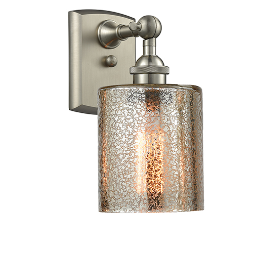 Cobbleskill Brushed Satin Nickel One-Light Wall Sconce with Mercury Drum Glass