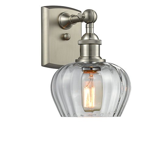 Fenton Brushed Satin Nickel LED Wall Sconce with Clear Fluted Sphere Glass