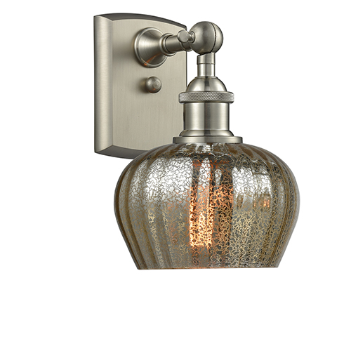 Innovations Lighting Fenton Brushed Satin Nickel One-Light Wall Sconce with Mercury Fluted Sphere Glass