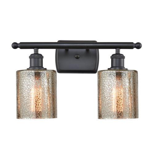 Cobbleskill Matte Black Two-Light LED Bath Vanity with Mercury Glass