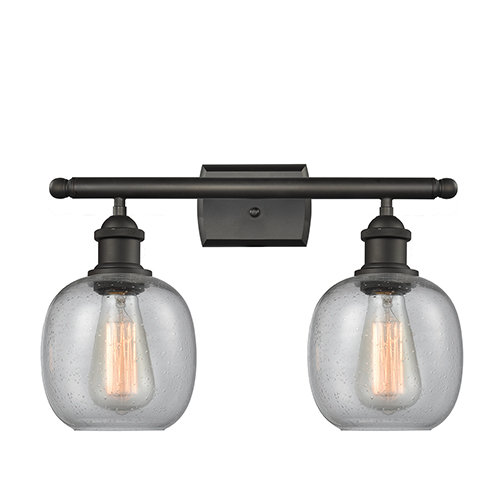 Innovations Lighting Belfast Oiled Rubbed Bronze Two-Light LED Bath Vanity with Clear Seedy Sphere Glass