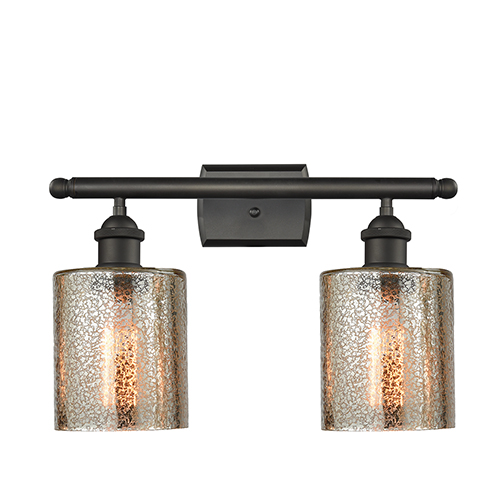 Innovations Lighting Cobbleskill Oiled Rubbed Bronze Two-Light Bath Vanity with Mercury Drum Glass