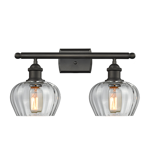 Fenton Oiled Rubbed Bronze Two-Light Bath Vanity with Clear Fluted Sphere Glass