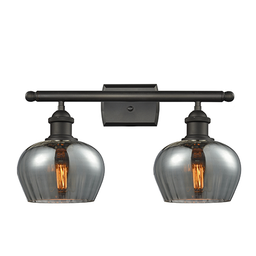 Innovations Lighting Fenton Oiled Rubbed Bronze Two-Light Bath Vanity with Smoked Fluted Sphere Glass