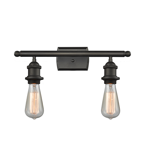 Bare Bulb Oiled Rubbed Bronze 16-Inch Two-Light Bath Vanity