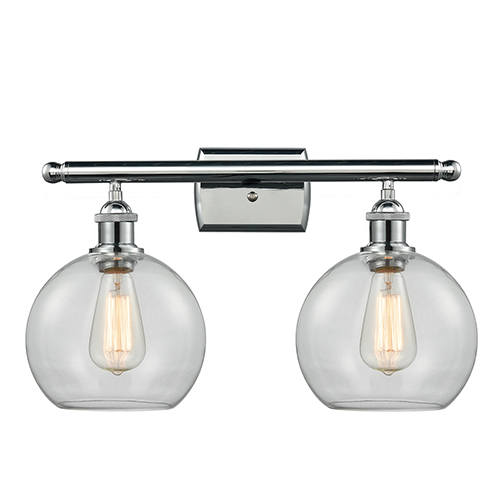 Innovations Lighting Athens Polished Chrome Two-Light Bath Vanity with Clear Globe Sphere Glass