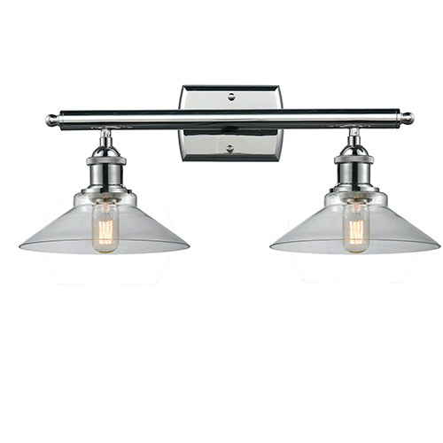 Innovations Lighting Disc Polished Chrome Two-Light Bath Vanity with Clear Cone Glass