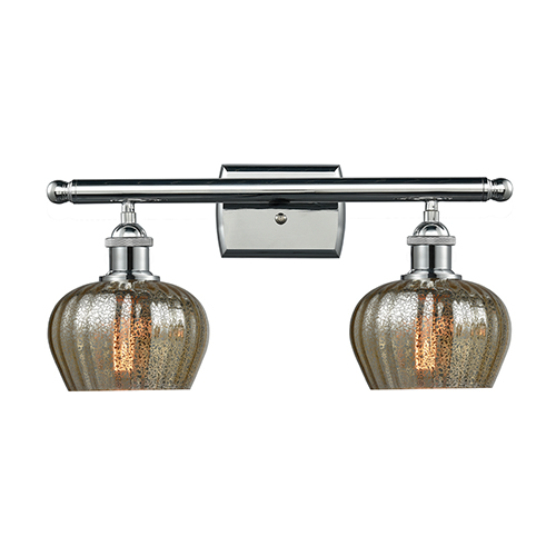 Innovations Lighting Fenton Polished Chrome Two-Light Bath Vanity with Mercury Fluted Sphere Glass