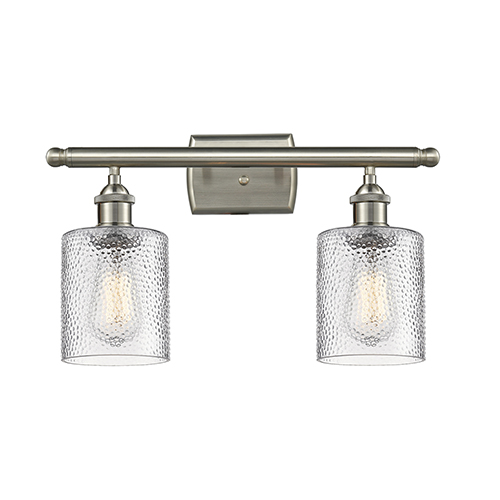 Innovations Lighting Cobbleskill Brushed Satin Nickel Two-Light Bath Vanity with Clear Ripple Drum Glass