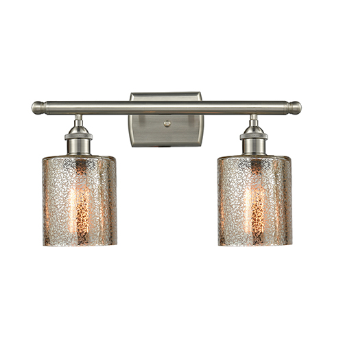 Cobbleskill Brushed Satin Nickel Two-Light Bath Vanity with Mercury Drum Glass