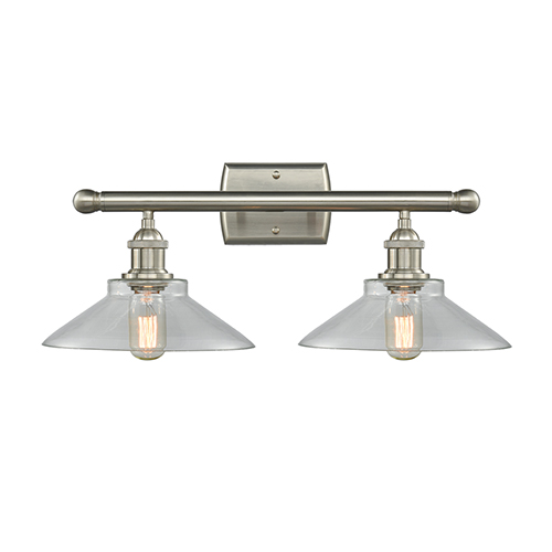 Innovations Lighting Disc Brushed Satin Nickel Two-Light Bath Vanity with Clear Cone Glass