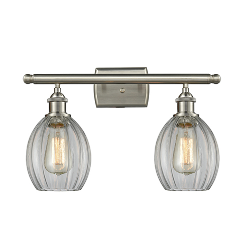 Innovations Lighting Eaton Brushed Satin Nickel Two-Light Bath Vanity with Clear Fluted Sphere Glass