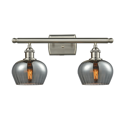 Innovations Lighting Fenton Brushed Satin Nickel Two-Light LED Bath Vanity with Smoked Fluted Sphere Glass