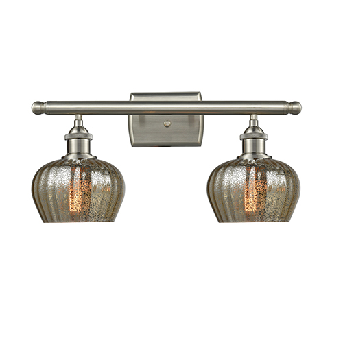 Fenton Brushed Satin Nickel Two-Light Bath Vanity with Mercury Fluted Sphere Glass