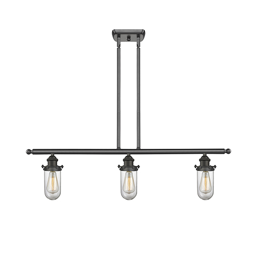 Innovations Lighting Kingsbury Oiled Rubbed Bronze Three-Light Island Pendant with Clear Globe Glass