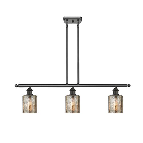 Innovations Lighting Cobbleskill Oiled Rubbed Bronze Three-Light Island Pendant with Mercury Drum Glass